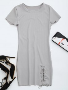 Round Collar Ribbed Lace Up Dress - Gray Xl