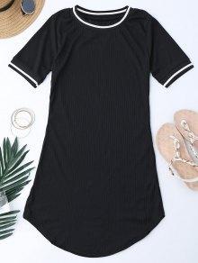 Ribbed Striped Panel Mini Dress - Black L