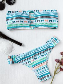 Bandeau Tribe Print Ladder Cut Bikini