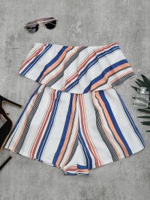Bandeau Overlay Romper With Multi Stripes