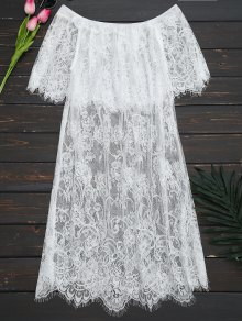 Off The Shoulder Sheer Lace Blouse