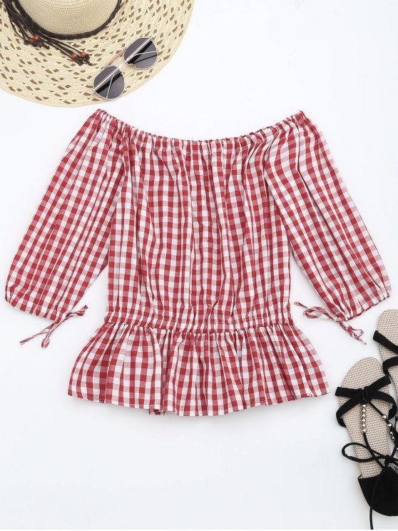 online Off The Shoulder Ruffle Checked Blouse - CHECKED L