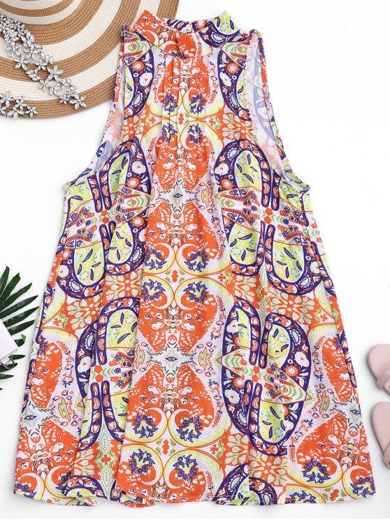 Vestido de túnica con corte gráfico - Floral L
