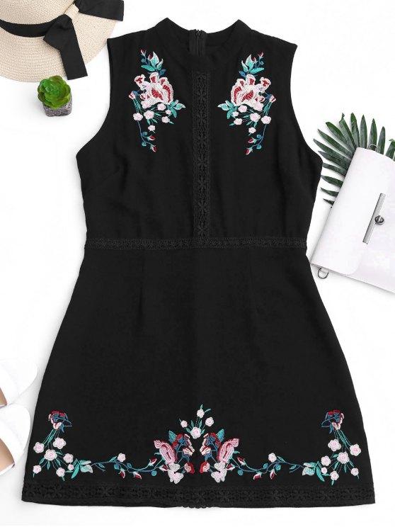 Mini vestido bordado floral del cordón - Negro S