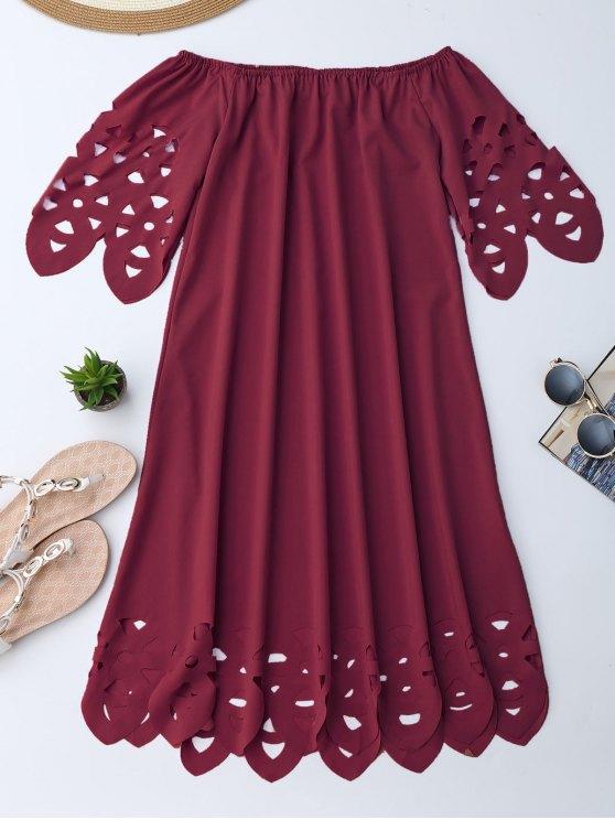 Vestido de Encaje con Vuelo con Hombros al Aire - Burdeos S