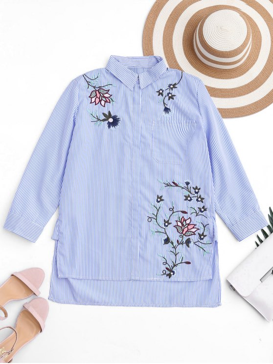 lady Embroidered Stripes High Low Shirt - STRIPE S