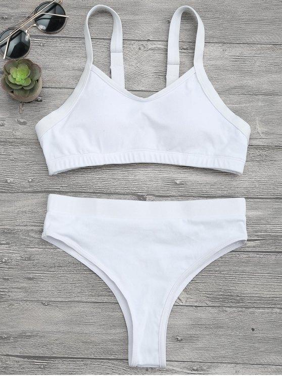 Traje de Bikini sin Aros con Abertura Alta - Blanco M