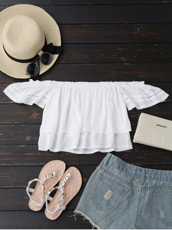 sale Off Shoulder Ruffles Layered Top - WHITE S