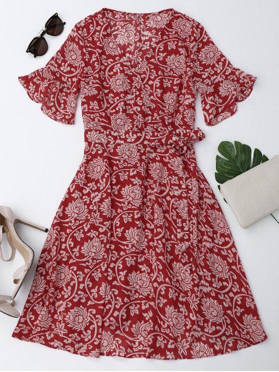 women's Bell Sleeve Chiffon Floral Self Tie Dress - RED M