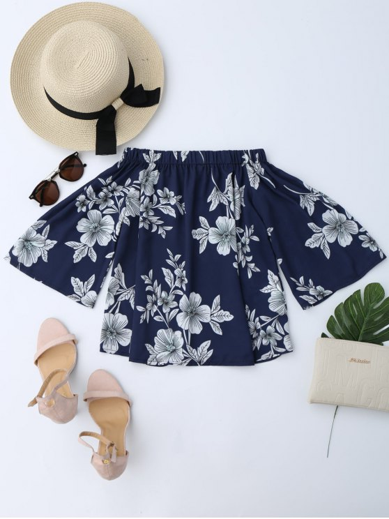 best Floral Off Shoulder Top - CADETBLUE M