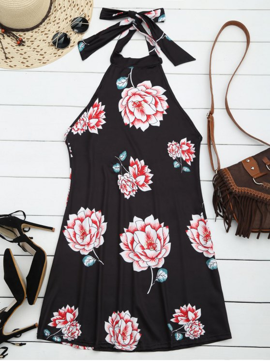 shops Halter Floral Open Back Dress - BLACK XL