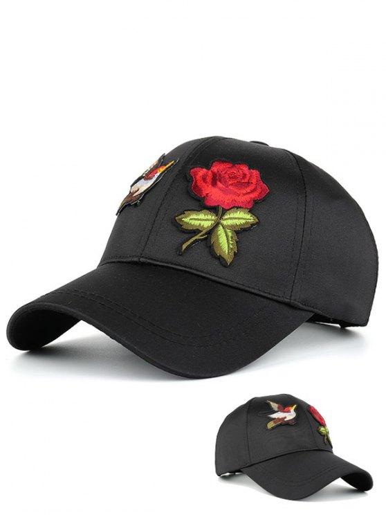 hot Bird Rose Patchwok Baseball Hat - BLACK