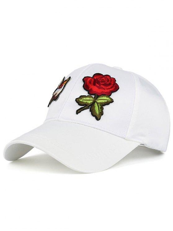 Sombrero de béisbol de Patchwok de Rose del pájaro - Blanco
