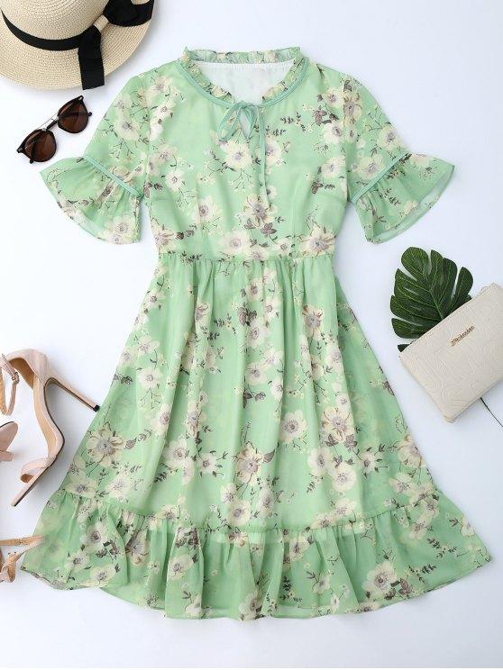 sale Ruffles Tiny Floral Chiffon Dress - LIGHT GREEN L