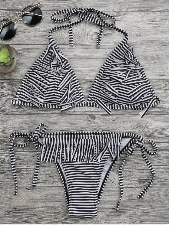 Conjunto de bikini con franjas de tanga de rayas - Blanco y Negro XL