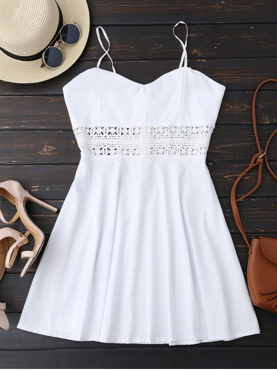 shop Cami Crochet Trim Skater Sun Dress - WHITE S