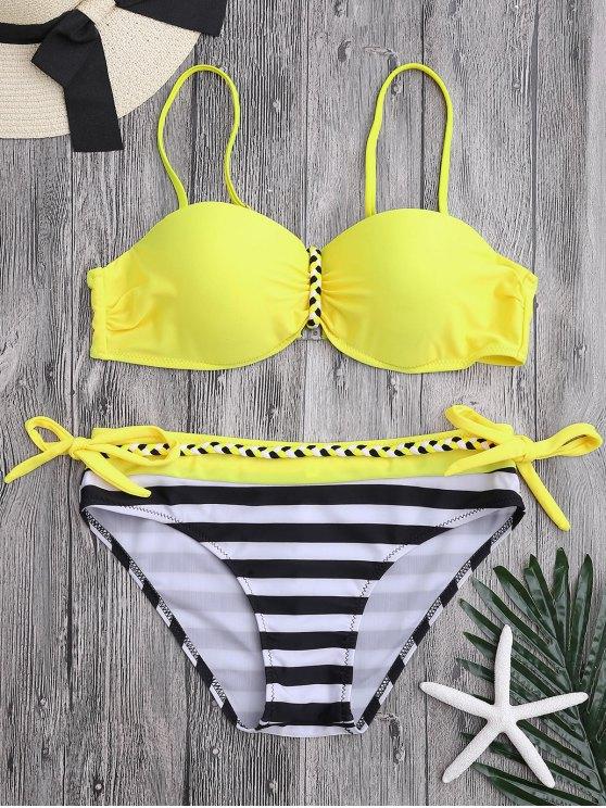 Conjunto de bikini con cuello de manzana Push up Upwire - amarillo Brillante M