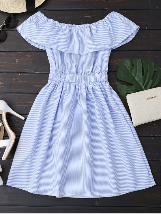 Vestido Fuera del Hombro a Rayas  con Espalda Abierta - Azul S