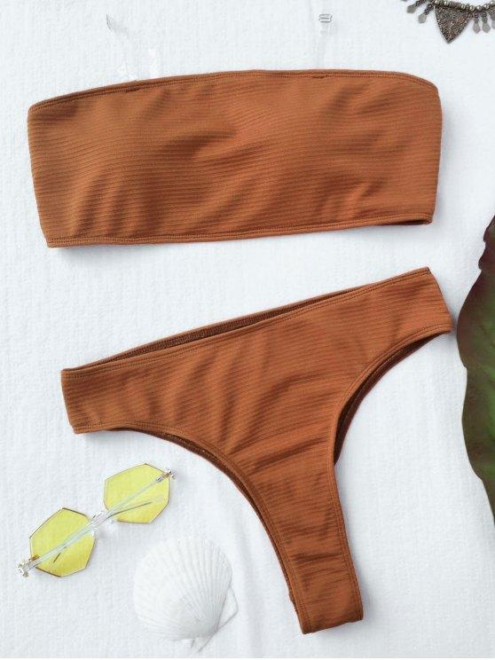 Textured alta pierna bikini Bandeau conjunto - Marrón M
