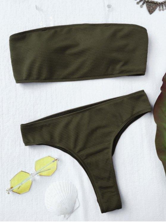 Textured alta pierna bikini Bandeau conjunto - Verde L