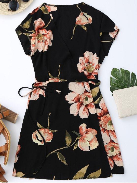 best Cap Sleeve Floral Mini Wrap Dress - BLACK M