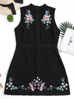 Floral Embroidered Lace Trim Mini Dress - Black M