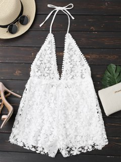 Crochet Plunge Backless Halter Romper - White M