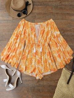 Printed Flare Sleeve Off Shoulder Beach Romper - Orange L
