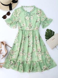 Ruffles Tiny Floral Chiffon Dress - Light Green L