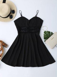 Cami Crochet Trim Skater Sun Dress - Black S