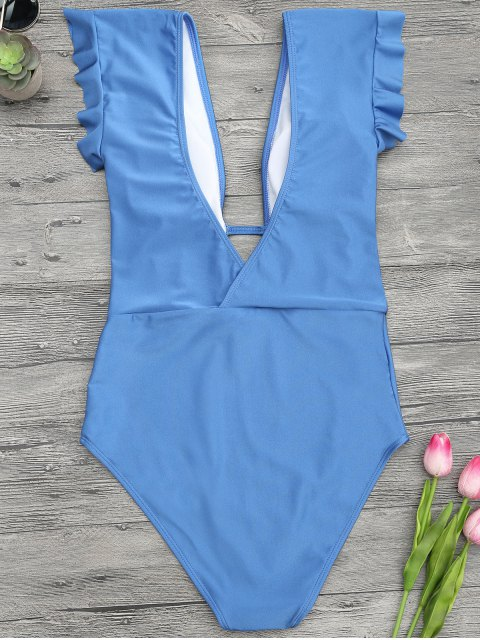 chic Frilled Plunge One Piece Swimsuit - BLUE S Mobile
