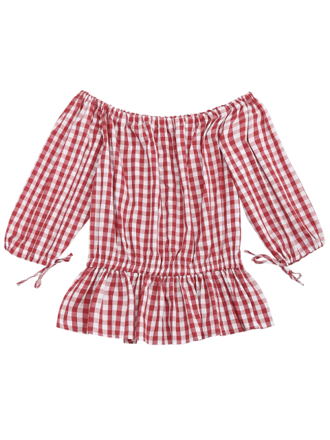 online Off The Shoulder Ruffle Checked Blouse - CHECKED L Mobile