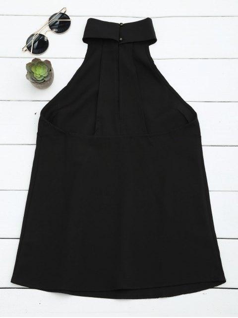 trendy Buttoned Back Halter Top - BLACK L Mobile