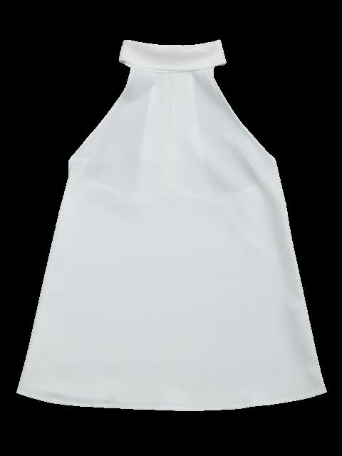 fancy Buttoned Back Halter Top - WHITE L Mobile