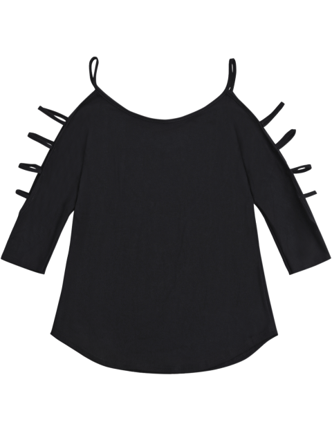 best Cut Out Sleeve Cold Shoulder Top - BLACK S Mobile