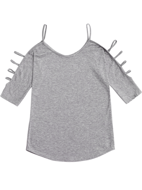 outfit Cut Out Sleeve Cold Shoulder Top - GRAY S Mobile