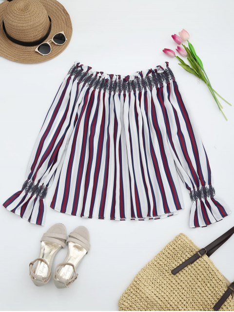 latest Striped Ruffles Off Shoulder Blouse - RED S Mobile