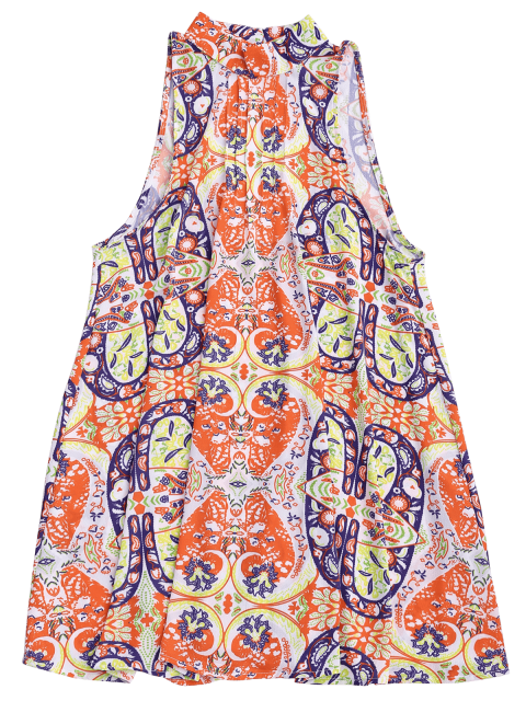 chic Graphic Cut Out Tunic Dress - FLORAL S Mobile