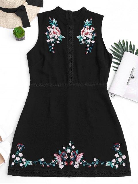 sale Floral Embroidered Lace Trim Mini Dress - BLACK S Mobile