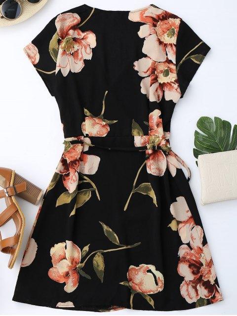 best Cap Sleeve Floral Mini Wrap Dress - BLACK M Mobile