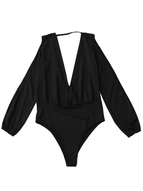 chic Plunging Neck Split Sleeve Bodysuit - BLACK S Mobile
