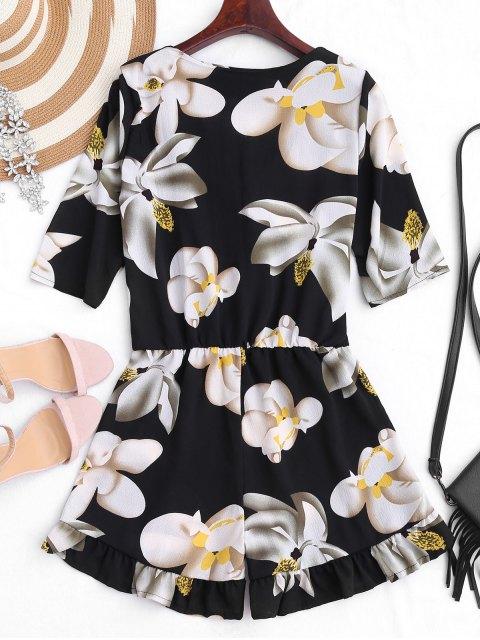 unique Belted Ruffles Floral Surplice Romper - FLORAL XL Mobile