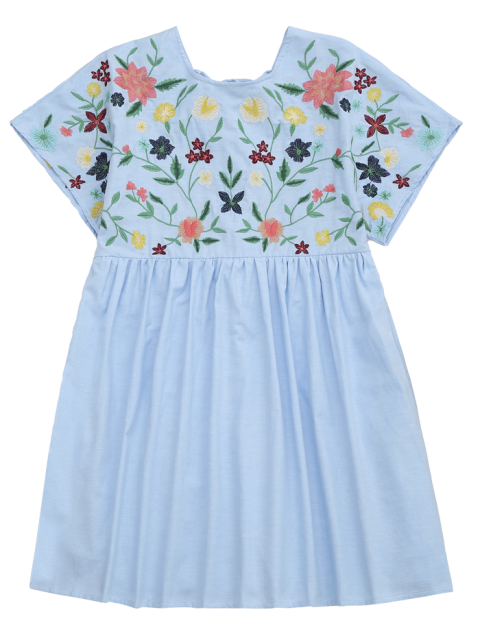 affordable Floral Embroidered Chambray Skort Romper - LIGHT BLUE L Mobile