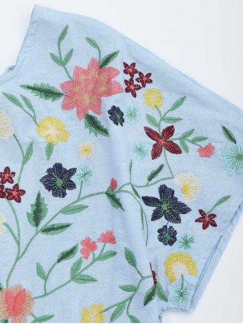 unique Floral Embroidered Chambray Skort Romper - LIGHT BLUE S Mobile
