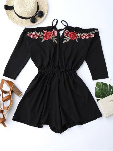 lady Floral Applique Cold Shoulder Romper - BLACK S Mobile