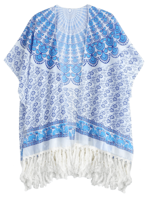 outfit Tassels Poncho Beach Cover Up - BLUE ONE SIZE Mobile