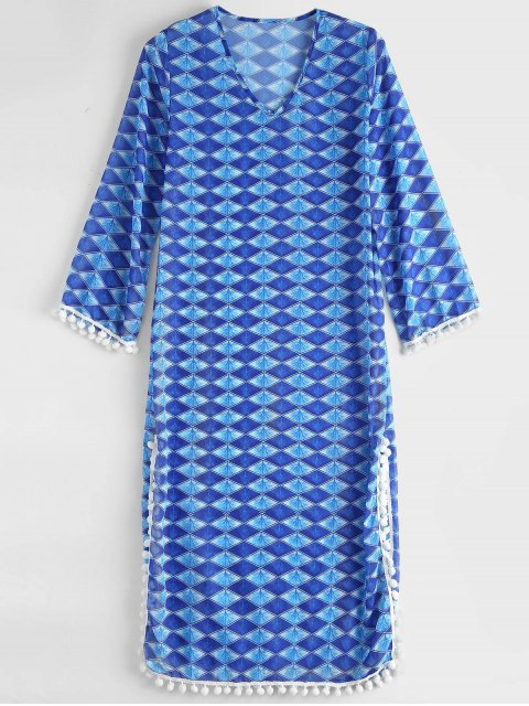shop Diamond Chiffon Beach Cover Up Dress - BLUE ONE SIZE Mobile