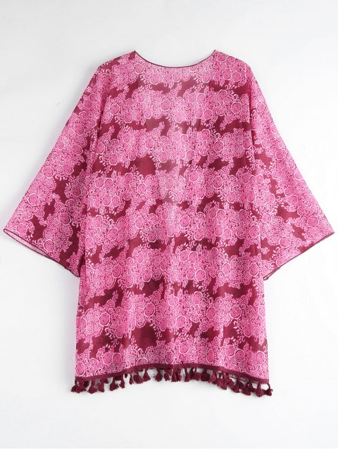 shops Tasselled Chiffon Kimono Beach Cover Up - ROSE ONE SIZE Mobile