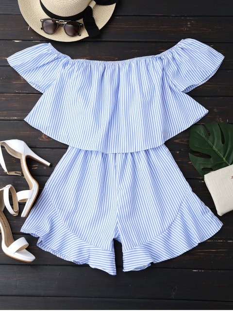 buy Ruffle Striped Off The Shoulder Romper - BLUE S Mobile