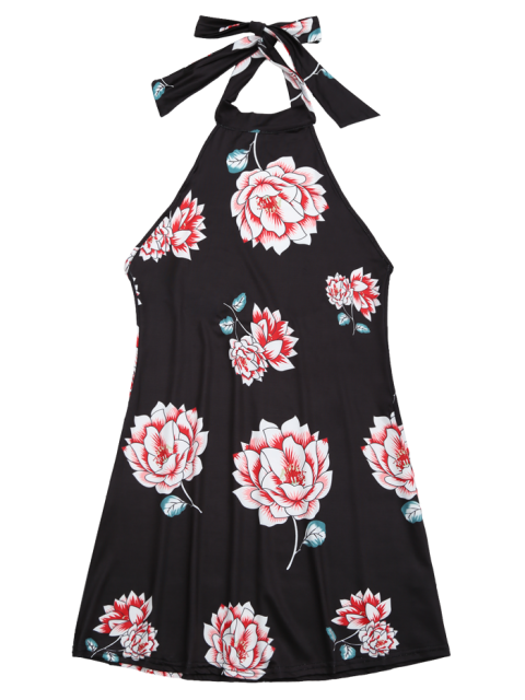 outfits Halter Floral Open Back Dress - BLACK M Mobile